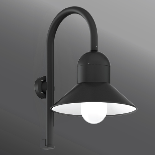 Click to view Ligman Lighting's  Atlantic Shepherds Crook Medium Shade Wall Light (model UAA-3XXXX).